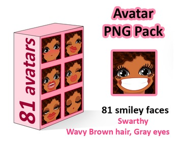 ♡ PNG Pack 81 avatars. Girl Faces. Wavy Brown hair Gray eyes