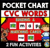 POCKET CHART ACTIVITY KINDERGARTEN (CVC WORD PICTURE CARDS) BUILD + MATCH CENTER