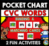 POCKET CHART ACTIVITY BUILD SPELL CVC WORD PICTURE CARDS BLEND AND MATCH CENTER