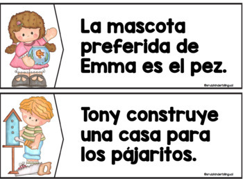 POCKET CHART ~MATCHING SENTENCES TO PICTURES in SPANISH