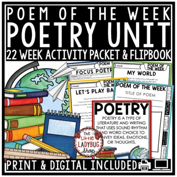 Poetry Unit Reading Comprehension Passages & Questions Distance Learning Packet