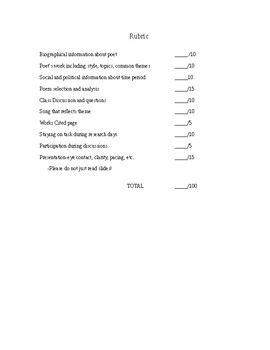 POET PROJECT for Poetry Unit