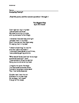 POETRY: Two Poems to Analyze, Compare. Gr 3/4. M/C questions/written response