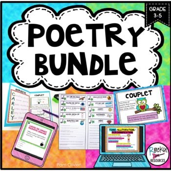 POETRY UNIT- Elements of Poetry, Poetry Booklet, Poetry Analysis, Poetry Center, from Rockin Resources, available on TpT