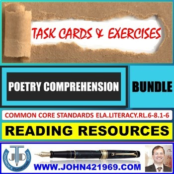 POETRY READING COMPREHENSION - TASK CARDS AND EXERCISES