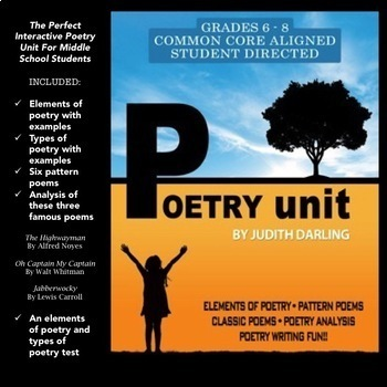 Poetry Unit - Middle School 6 - 8 Interactive and Student Graded