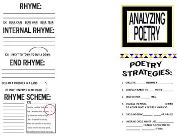 POETRY WORDS AND STRATEGIES FOLDABLE