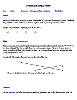 POINTS AND LINES Information Sheet