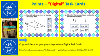 "POINTS, LINES, AND PLANES: ""DIGITAL"" BOOM CARDS (30 TASK CARDS)"