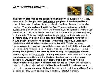POISON ARROW FROGS - TINY BUT DANGEROUS (Article & worksheet)
