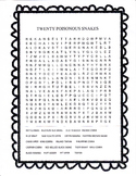 POISONOUS SNAKES FROM AROUND THE WORLD word search