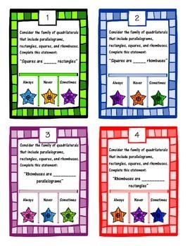 POKE Self Checking Math Task - Classifying Quadrilaterals: MAFS.5.G.2.3 & G.2.4