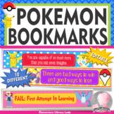 POKEMON GO Growth Mindset Bookmarks, Shelf Markers or Desk Name Plates -EDITABLE