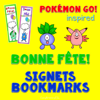 POKEMON GO! Inspired Bonne Fête SIGNETS Bookmarks (EDITABLE)