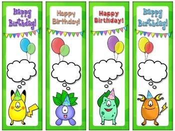 POKEMON GO! Inspired Happy Birthday Bookmarks (EDITABLE)