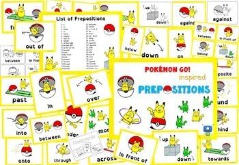 POKEMON GO! Inspired Prepositions cards
