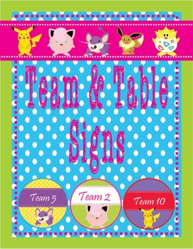 POKEMON GO Theme Team & Table Circle Signs - EDITABLE