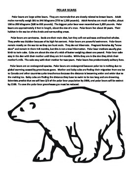 POLAR BEARS: TEXT/WEB/EXPOSITORY WRITING/QUIZ (GRADES 4 - 5)