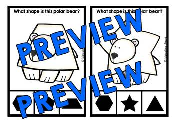 POLAR BEARS KINDERGARTEN WINTER MATH CENTER (POLAR BEAR SHAPES CLIP CARDS)