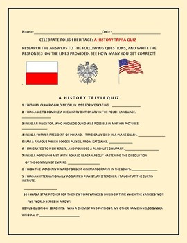 POLISH HERITAGE: A HISTORY TRIVIA QUIZ W/BONUS QUESTION/ ANSWER KEY