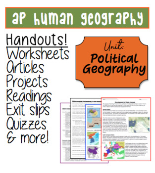POLITICAL GEOGRAPHY Worksheets Test Included 19 pages!
