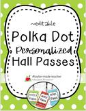 POLKA DOT Hall Passes Lanyards {EDITABLE}