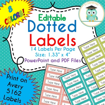POLKA DOT Labels Editable Folder (Avery 5162) PARTY COLORS