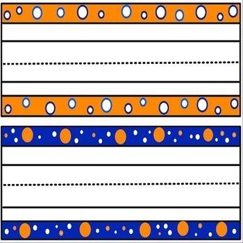 Orange and Blue Polka Dot Name Plates