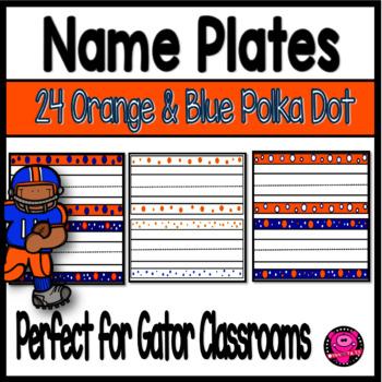 Name Plates Polka Dots Orange and Blue