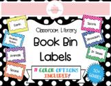 POLKA DOTS CLASSROOM LIBRARY BOOK BINS/BASKET LABELS