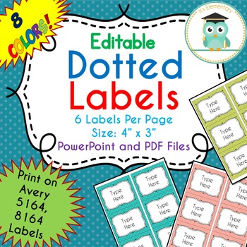 polka dots labels editable classroom notebook folder party avery