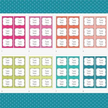POLKA DOTS Labels Editable Classroom Notebook Folder (PARTY, Avery 5164, 8164)