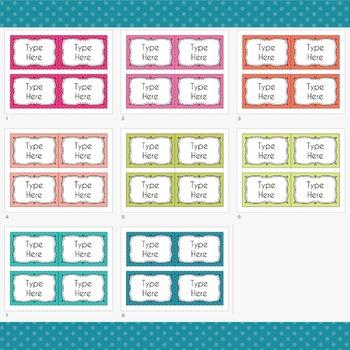 POLKA DOTS Labels Editable Classroom Notebook Folder (PARTY, Avery 5168, 8168)