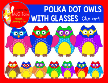 POLKA DOTS OWLS WITH GLASSES Cliparts