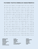 POLYGENIC TRAITS AND MENDELIAN  CHARACTERISTICS WORD SEARCH, AP BIOLOGY