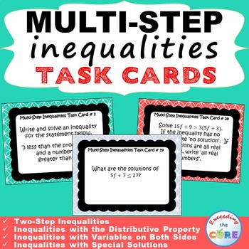 MULTI-STEP INEQUALITIES - Task Cards {40 Cards}