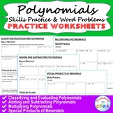 POLYNOMIALS Homework Worksheets: Skills Practice & Word Problems