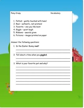 PONY CRAZY by Hapka ELA Reading Novel Study Guide Printable CCSS