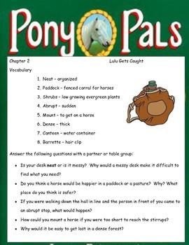 PONY PALS #1 I Want a Pony ELA Novel Book Study Guide - complete