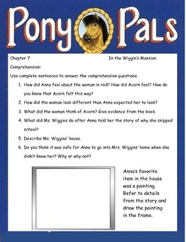 PONY PALS A Pony For Keeps ELA Novel Book Study Guide