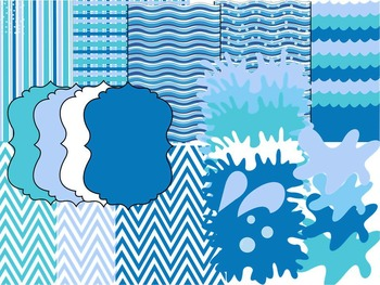 POOL PARTY CLIP ART * BLUE BACKGROUNDS