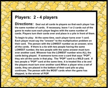 POP - A Fast Game of Multiplication