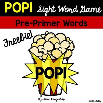 POP! A Sight Word Game PRE-PRIMER SET (FREEBIE!)