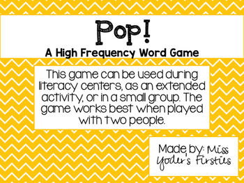 POP! [A high frequency word game]