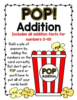 POP!  Addition Facts Card Game:  All Addition Facts 0-10