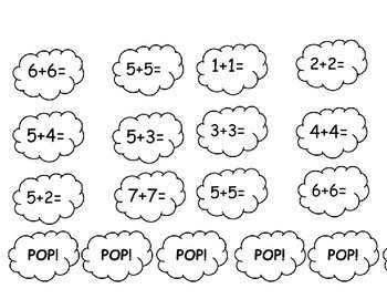 POP! Fun Fact Fluency Game (Addition Facts up to 10 and Doubles Facts to 20)