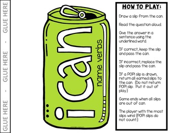 POP! Game {I Can:  Parts of Speech}