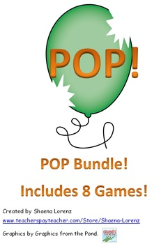 POP Game Pack (Sight Words, Letters, Sounds, Nonsense words, & Chunks)