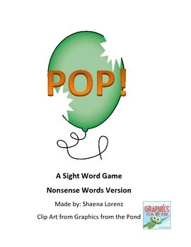 POP Nonsense Word Game