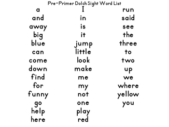 POP! Pre-Primer Dolch Sight Word Game